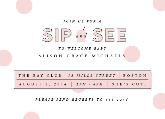 baby shower invitations - Sip and See Confetti by Paperful Press