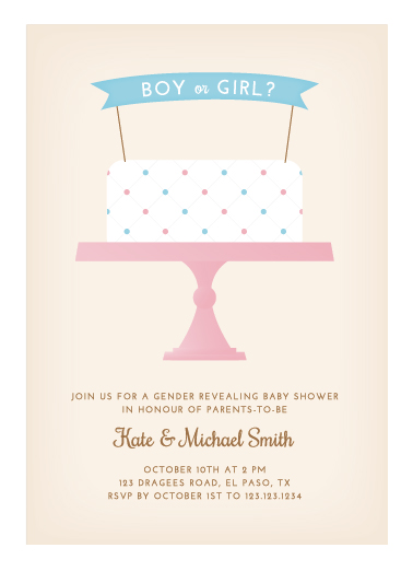 Baby shower invitations gender reveal cake at minted baby shower invitations gender reveal cake by katrina gem filmwisefo Image collections