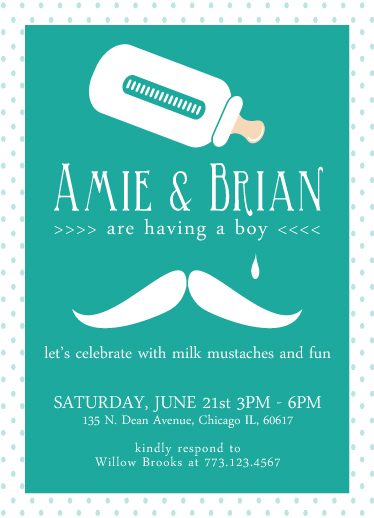 baby shower invitations - Milk Mustache by Pink Cupcakes And Paper