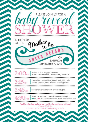 baby shower invitations - Chevron Baby Reveal Shower by Sarah Elizabeth