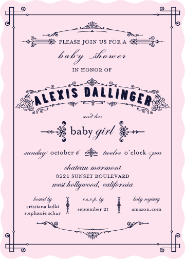 baby shower invitations - Hollywood Regency by Lily Lasuzzo