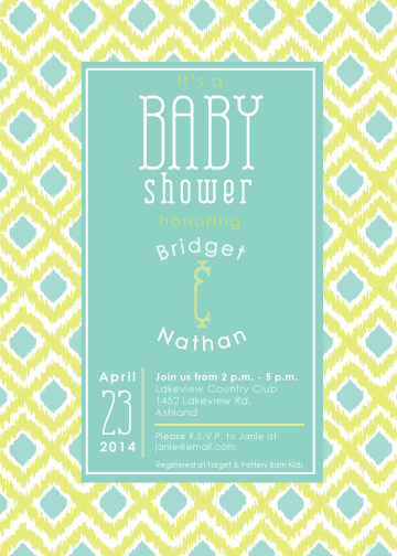 baby shower invitations - Couples Ikat Invitation by Jennifer Cooper