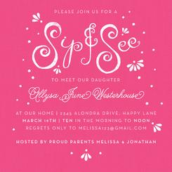 Magenta Sip & See Lettering