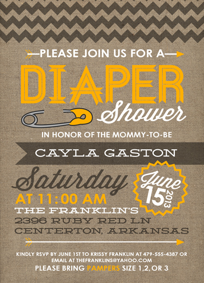 baby shower invitations - Chevron Diaper Pin by Callie Sercey