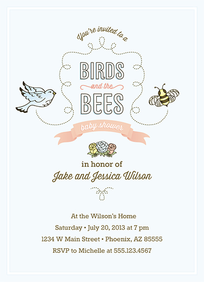 baby shower invitations - Birds and the Bees Baby Shower by Erin Williams