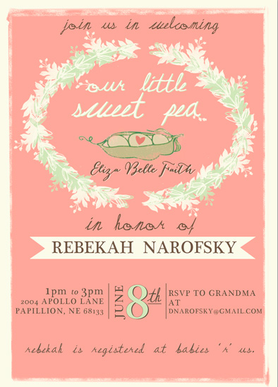 baby shower invitations - Our Little Sweet Pea by KJ Paperie