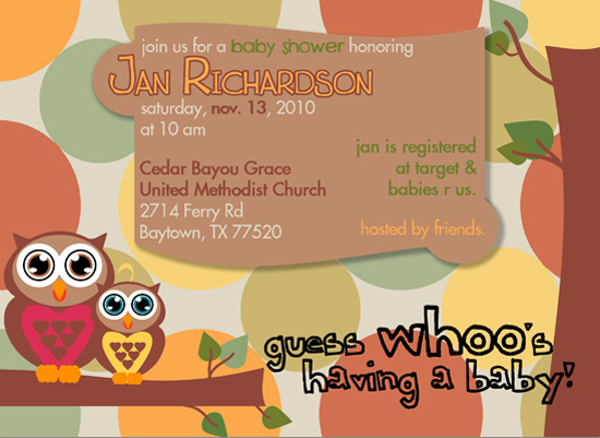 baby shower invitations - Guess Whoo's Having a Baby? by KJ Paperie