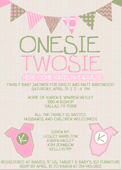 baby shower invitations - Onesie Twosie by KJ Paperie