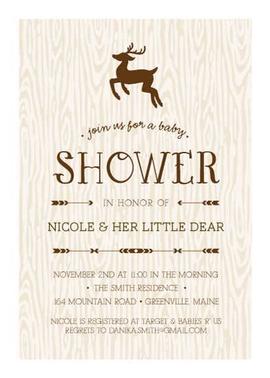 Baby Shower Invitations   Little Deer By Chelsey Emery