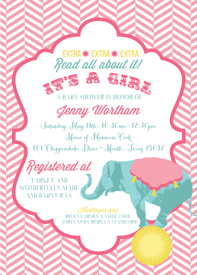 baby shower invitations - Baby Girl Circus by Callie Sercey