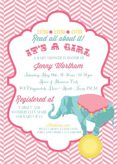 baby shower invitations Baby Girl Circus at Mintedcom