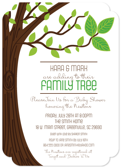 baby shower invitations - Family Tree Baby Makes Three by Jennafer Conley