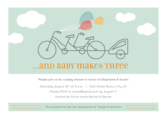 baby shower invitations - Baby Makes Three Tandem by Rachel Barnes