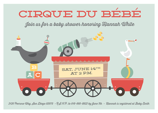baby shower invitations - Cirque du Bebe by Erica Krystek