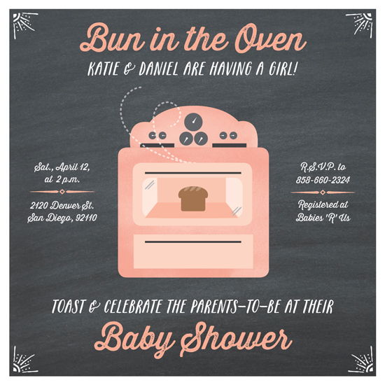 Baby Shower Invitations Bun In The Oven At Minted Com