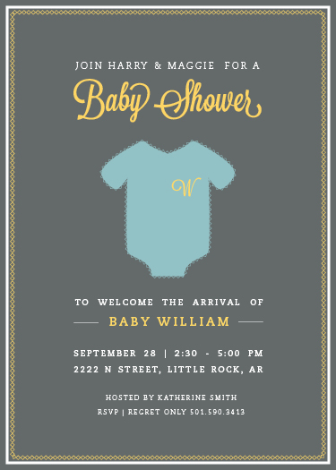 baby shower invitations - Monogrammed Onesie by Lauren Hampton