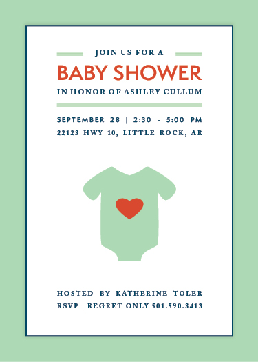 baby shower invitations - Heart Onesie by Lauren Hampton