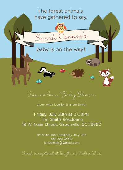 baby shower invitations - Woodland Animal Gathering by Jennafer Conley