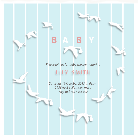baby shower invitations - Flying Birds by Karosx sjlds