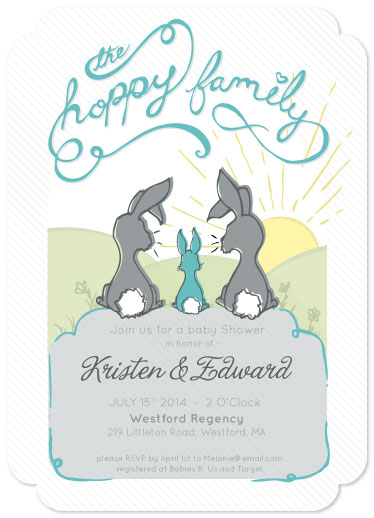 baby shower invitations - Hoppy new Family by Laura Connolly