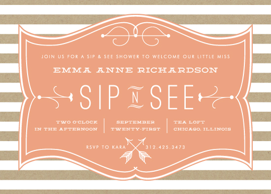 baby shower invitations Sip N See Frame at Mintedcom