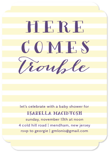 baby shower invitations - Here Comes Trouble by Roseville Designs