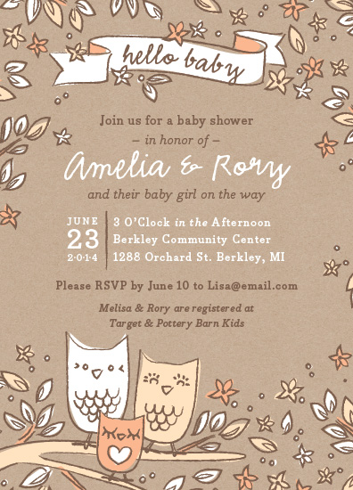 baby shower invitations - Little Hoot by Snow and Ivy