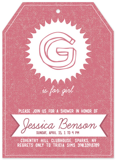 baby shower invitations - G Is For Girl by Heather Steed