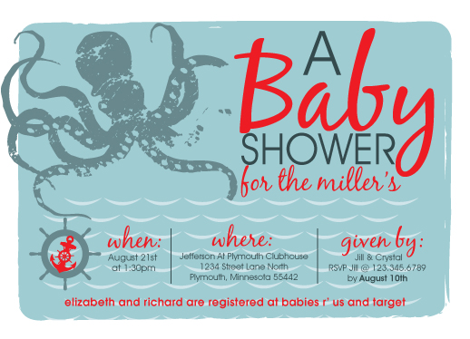 Baby Shower Invitations Octopus Under The Sea By Laura Solie