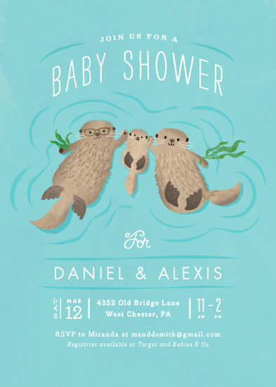 baby shower invitations - Little Otters by Jennifer Wick