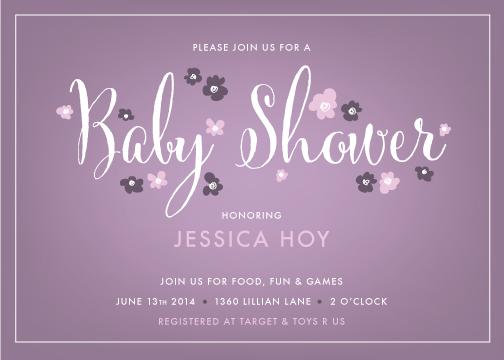 baby shower invitations - Purple Petals by Andrea Castek