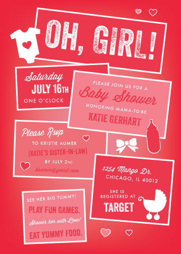 baby shower invitations - Oh Girl! by Andrea Castek