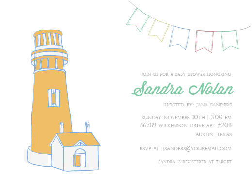 baby shower invitations - Baby Lighthouse by Clarissa Nash