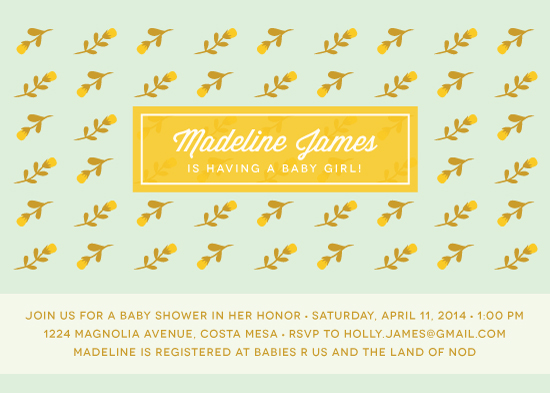 baby shower invitations - Floral Wallpaper by Monica Schafer