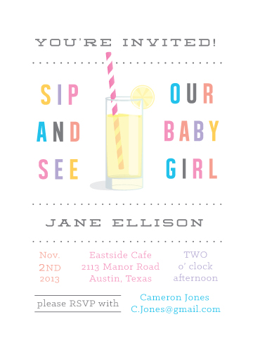 baby shower invitations - Colorful Sip & See by Jessica Duong