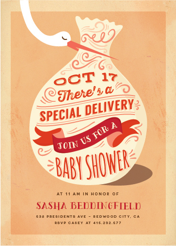 baby shower invitations - creme delivery by chocomocacino