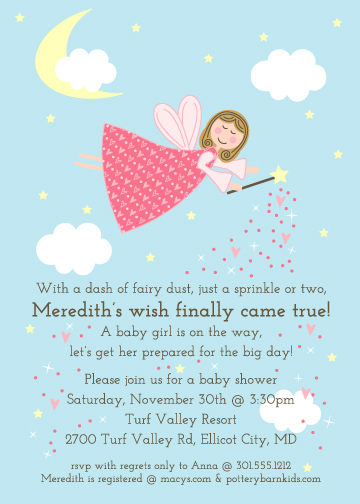 baby shower invitations A Fairy Wish Come True at Mintedcom