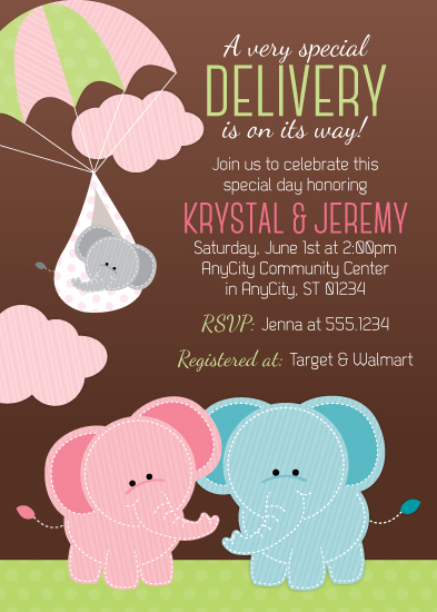 baby shower invitations - A Very Special Delivery by Little Bees Graphics