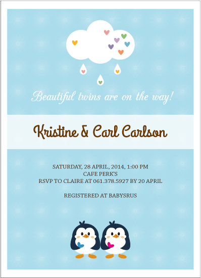 baby shower invitations - Beautiful Twins are on the way! by Claire Hahm