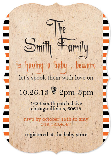 baby shower invitations - Beware There's A Baby On The Way by Pink Cupcakes And Paper