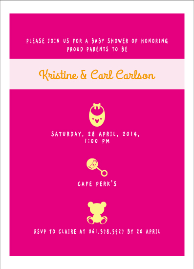 baby shower invitations - Bib, Rattle & Teddy Bear for Baby Shower Invitation by Claire Hahm