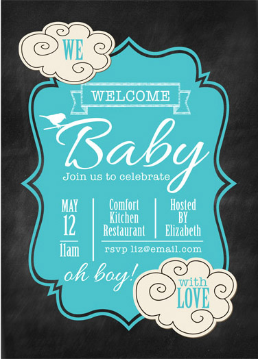 baby shower invitations - Baby tweet blue we love you by Aimee Davis