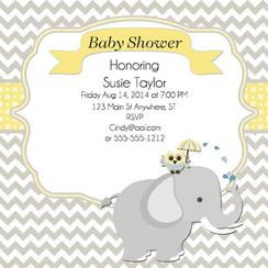 Elephant - Owl Baby Shower Invite