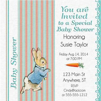 Peter Rabbit Baby Shower Invite