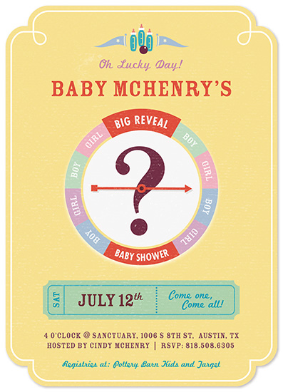baby shower invitations - Lucky Day Big Reveal by Melanie Pavao