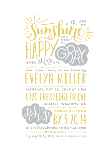 Baby Shower Invitations   Sunshine By Lauren Chism
