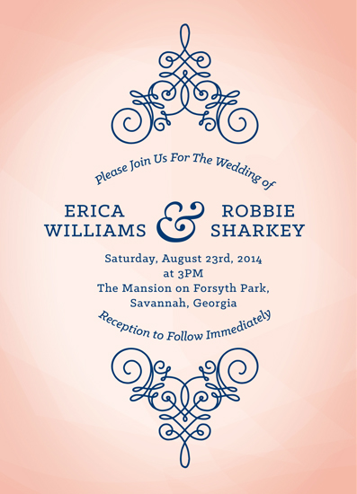wedding invitations peach and navy watercolor by brittany porter - Peach Wedding Invitations