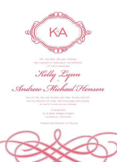 wedding invitations - swirl monogram by Whitefield Design
