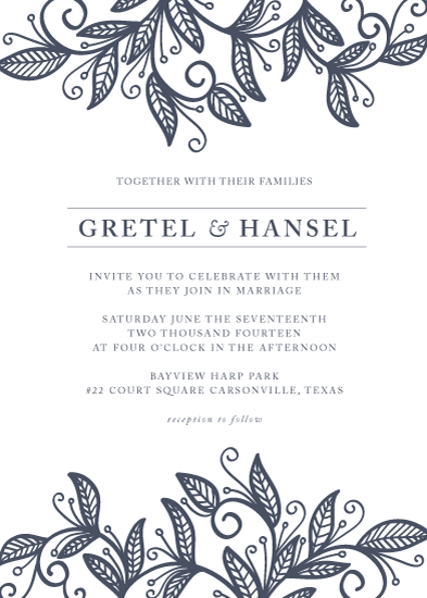 wedding invitations - lovely swirl and leaves by aticnomar