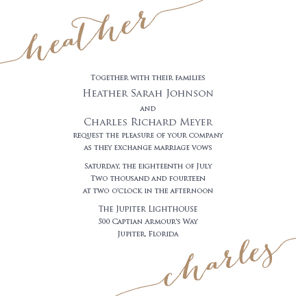 wedding invitations - Calligraphed Corners by Sennett Designs